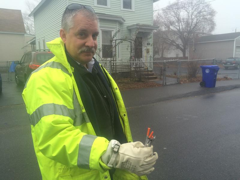 Manchester's Public Health Director Tim Soucy last year picked up nearly a dozen needles while walking around the city.  Paige Sutherland, NHPR