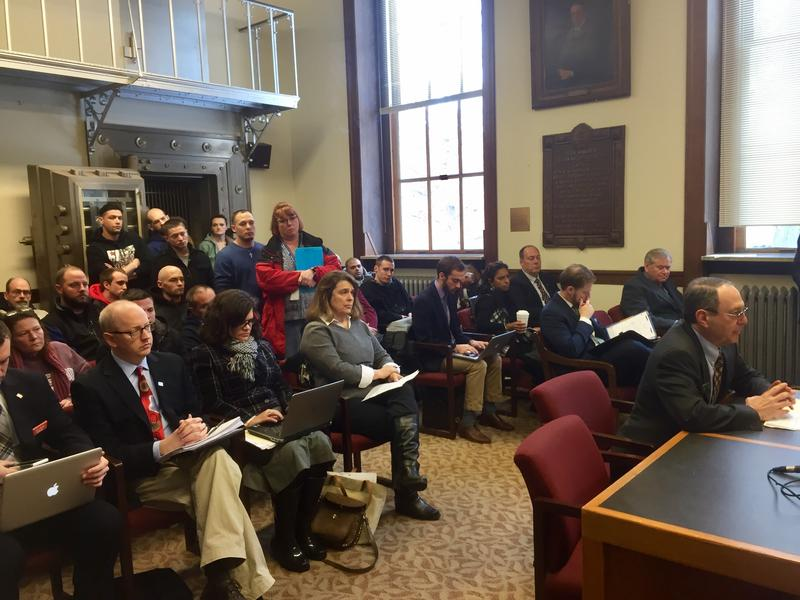 Supporters packed the hearing room Tuesday, Feb. 7, 2016 in favor of fully funding the state's Alcohol Fund, which addresses substance abuse prevention and treatment. Paige Sutherland, NHPR