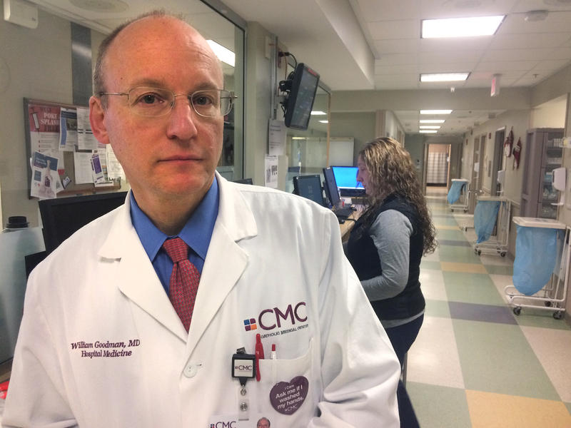 Dr. William Goodman, Chief Medical Officer, stands in Catholic Medical Center's Emergency Department, where 1,033 patients addicted to opioids were seen in 2016. Jack Rodolico, NHPR