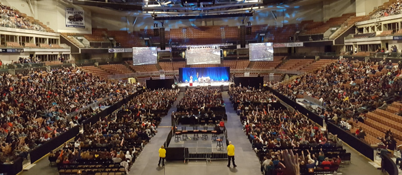 The SNHU Arena in Manchester was packed for New Hampshire's first Youth Summit on Opioid Awareness.  Via Twitter