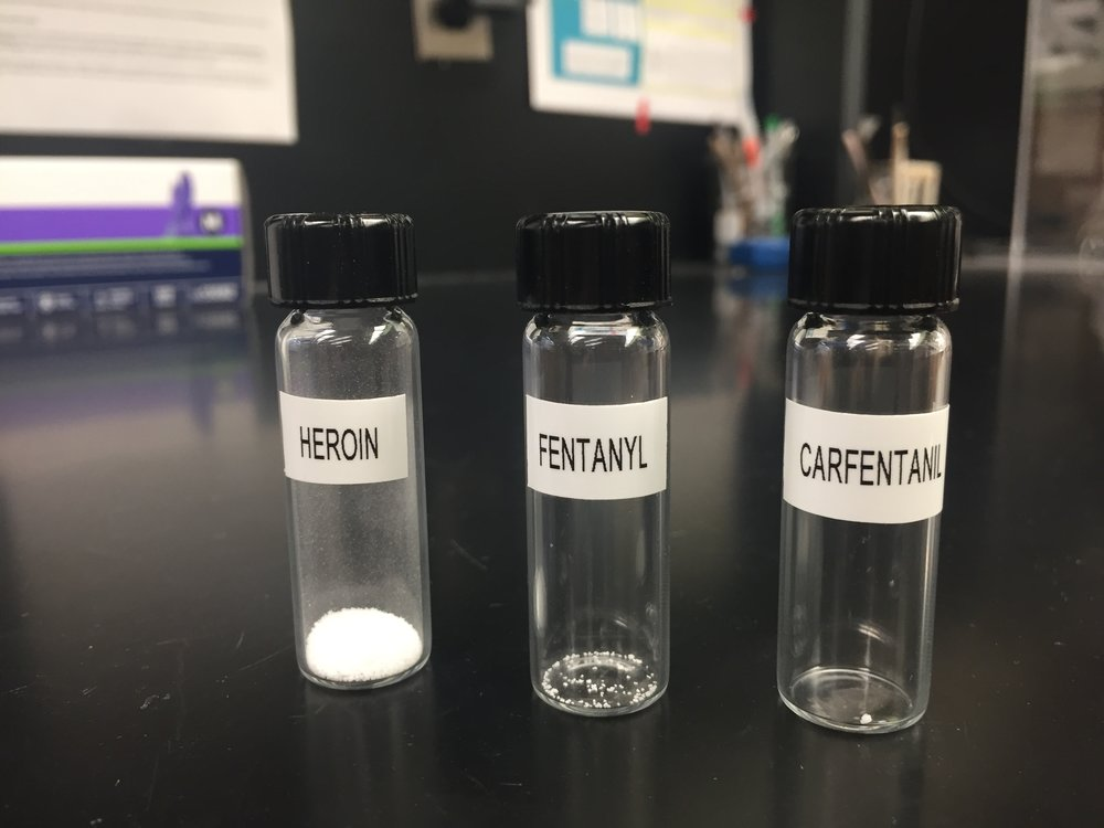 These vials show the lethal dosage of each drug. As you can see Carfentanil is significantly more potent.  PAIGE SUTHERLAND/NHPR