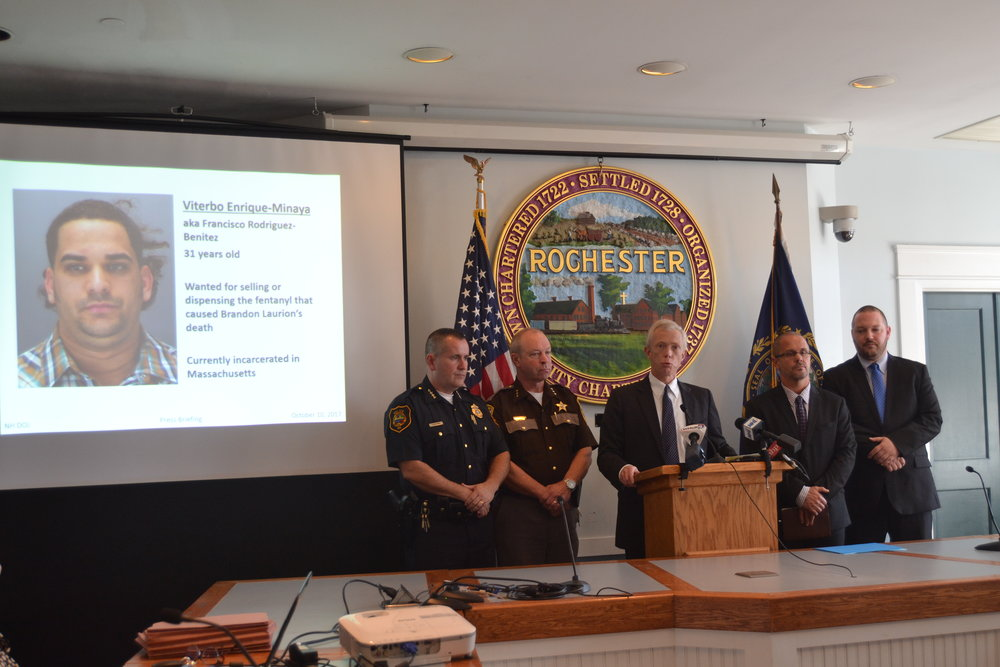 N.H. Attorney General Gordon MacDonald announces charges Tuesday against a Massachusetts drug dealer accused of causing the death of a Rochester man. PAIGE SUTHERLAND/NHPR