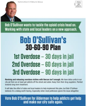 Bob O'Sullivan, who's running for Manchester alderman in Ward 2, outlined a slightly new approach on cutting down on repeat overdoses.  CREDIT MAILER