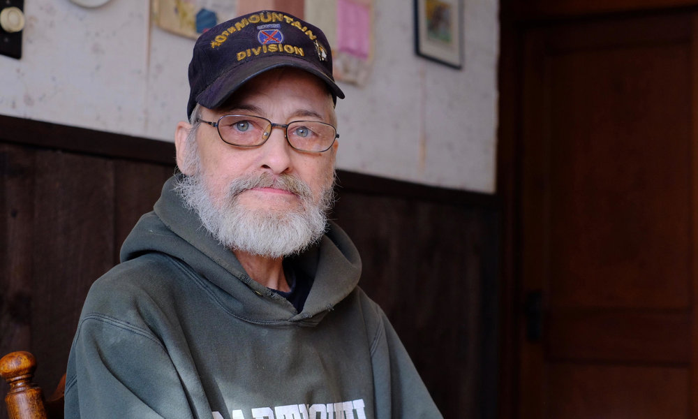 Michael Kennett, one of Dr. Anna Konopka's former patients, in his home in Springfield, VT. In the months since Konopka surrendered her medical license, Kennett hasn't found another physician willing to prescribe him the opioid-based pain medication he's relied on for years.