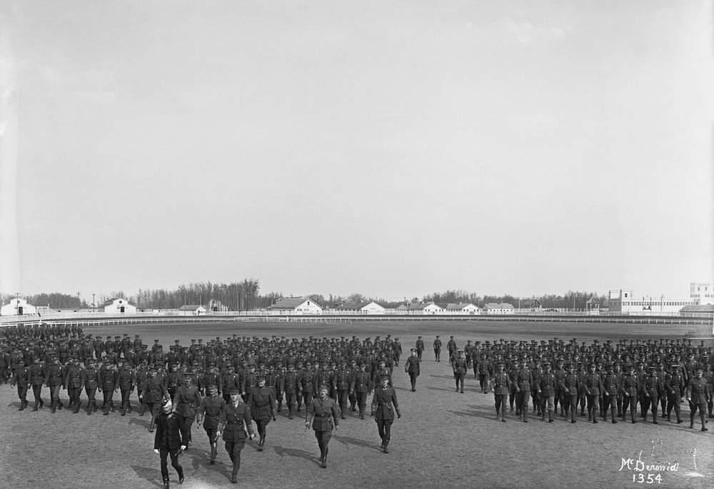 Image No:  Glenbow Archives NC-6-1354  Title:  49th Battalion, Edmonton, Alberta.  Date:  1915  Photographer/Illustrator:  McDermid Studio, Edmonton, Alberta