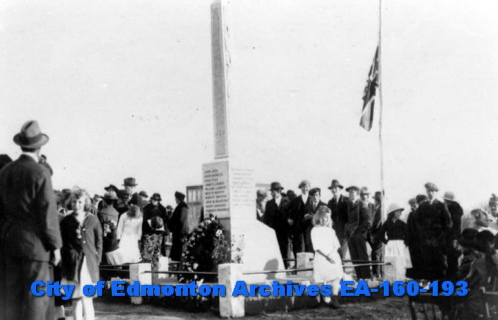 Unveiling of the Cenotaph in Beverly, today an Edmonton suburb, on October 17, 1920, City of Edmonton Archives EA-160-193