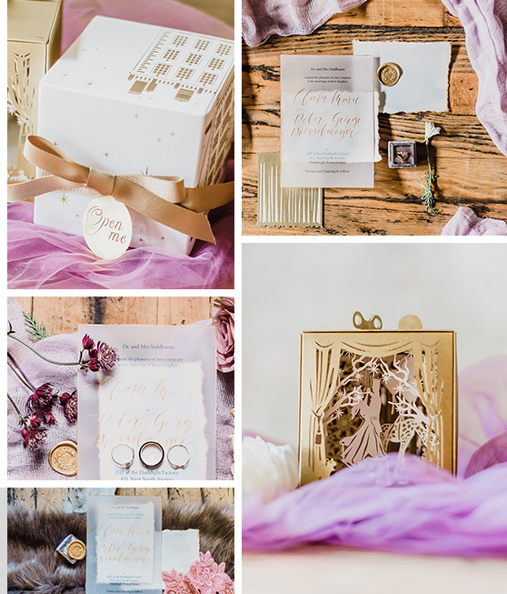 Photos by    Samantha Zenewicz Photography   .  If you would like to see more of this amazing music box invitation, you can find a video showcase of it in Bespoke & Beloved Events' Instagram story  highlights .