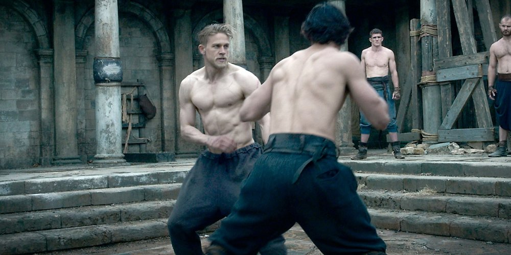Hunnam as Arthur sparring where he learned to fight growing up