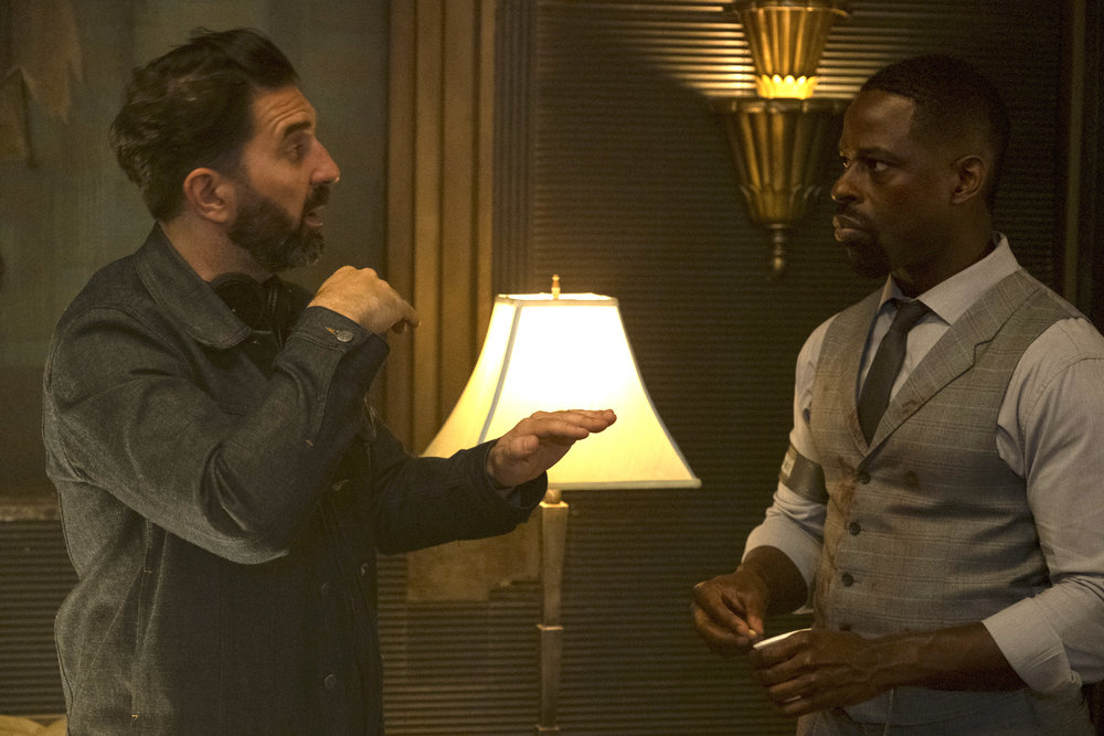 HA_03044_CC		Director Drew Pearce and Sterling K. Brown on the set of HOTEL ARTEMIS. Photo credit:  Matt Kennedy / Distributor:  Global Road Entertainment