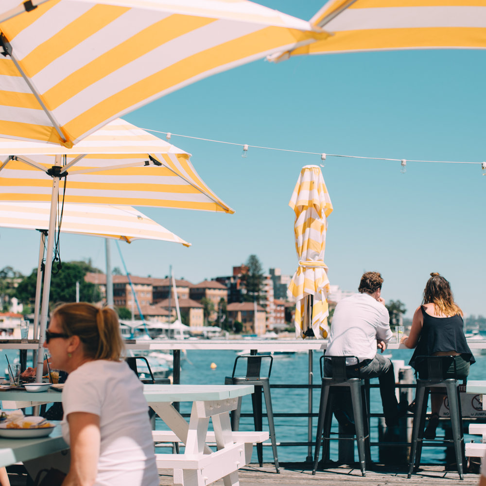 good pizza and a cute chillout spot at the  manly wharf hotel