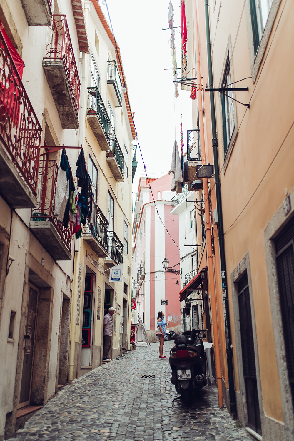 the tiny romantic streets of  Alfama