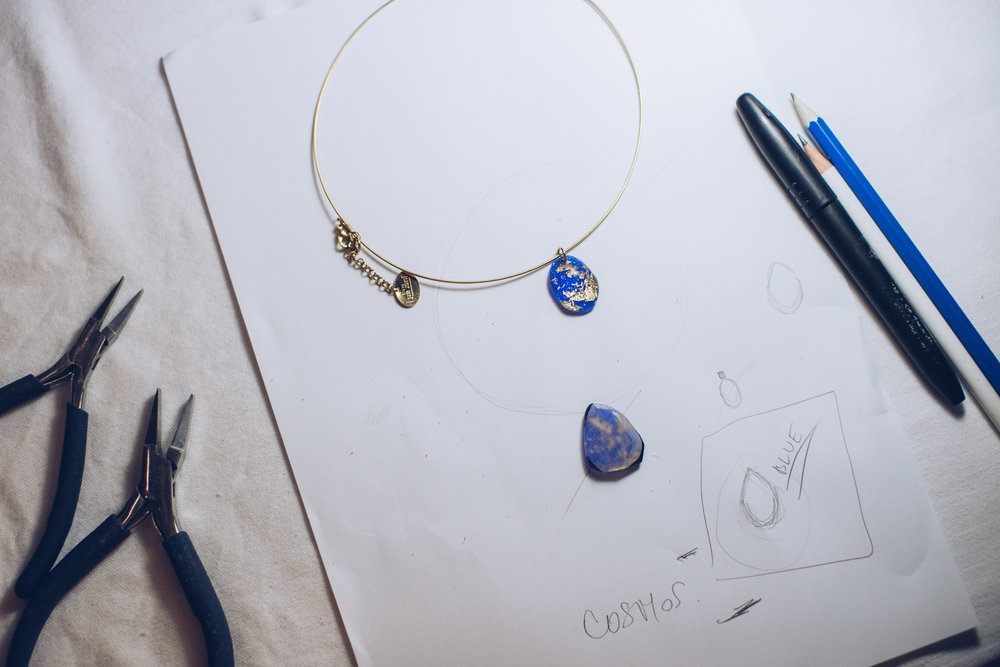 first - inspiration, then designing the piece of jewelry, and then it's time to work!