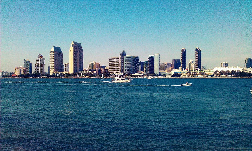 The view from the Coronado ferry of San Diego