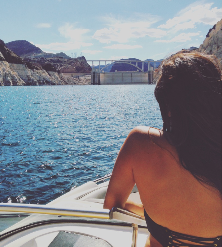 Enjoying the view of Hoover Dam from my boat