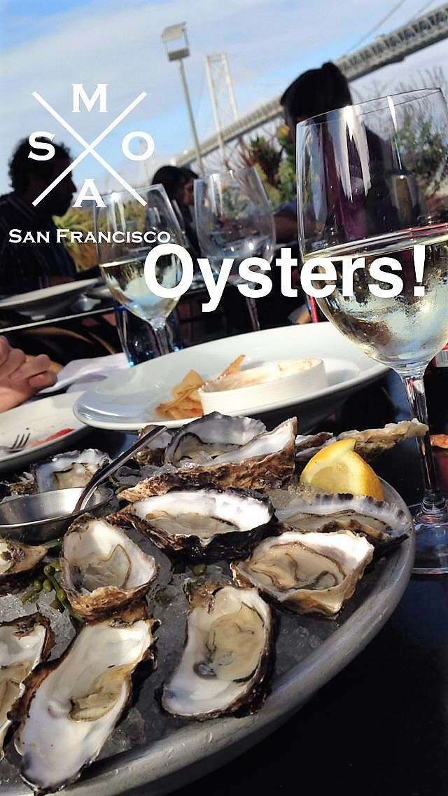 Oysters with a view of the Oakland Bridge