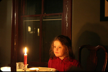 Katja at a candlight dinner