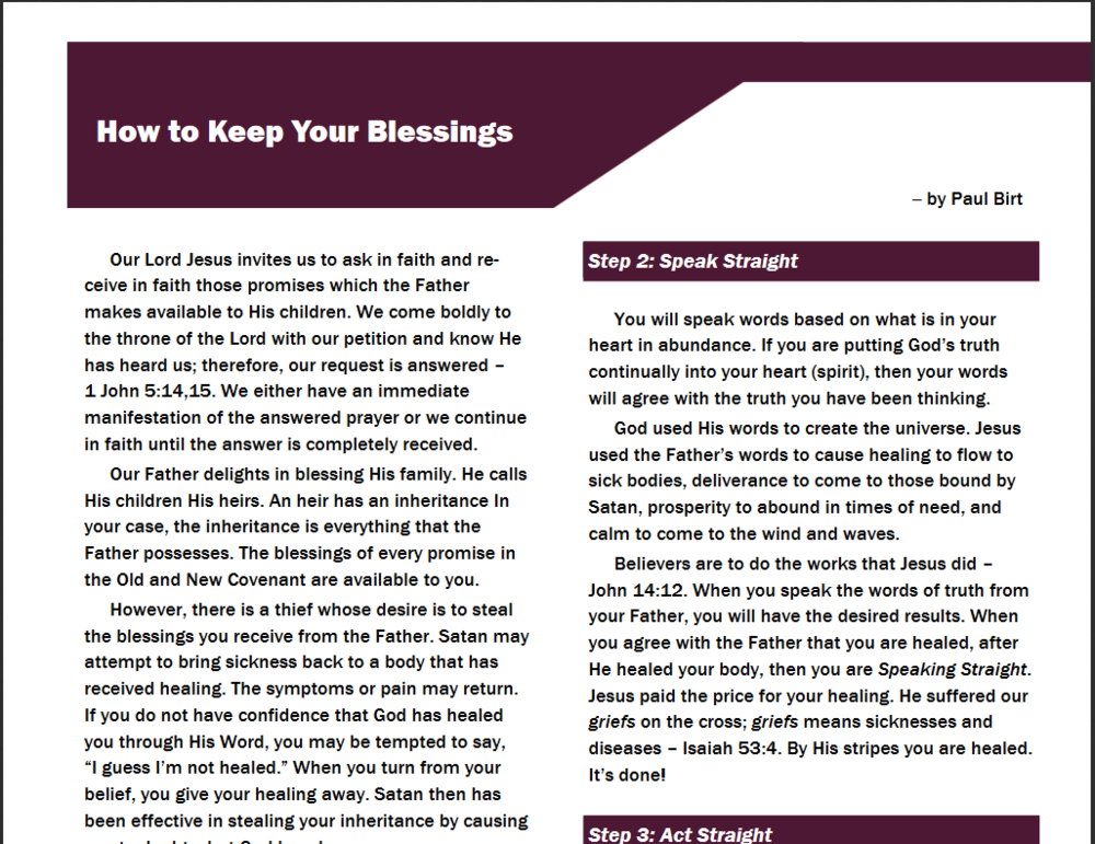 How to Keep Your Blessings