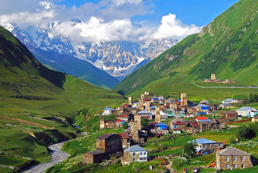 village of Ushguli with Mt.Shkara behind