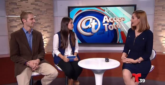 Telemundo 39 TV Spot - 2018-10-09 | Dallas, Texas — On Monday, October 8, 2018 our very own founder, Jacob Niemeier, and volunteer, Fernanda Munoz were interviewed in Spanish by Adriana Lopez on Telemundo 39. The interview aired on TV on Tuesday, October 9, 2018.
