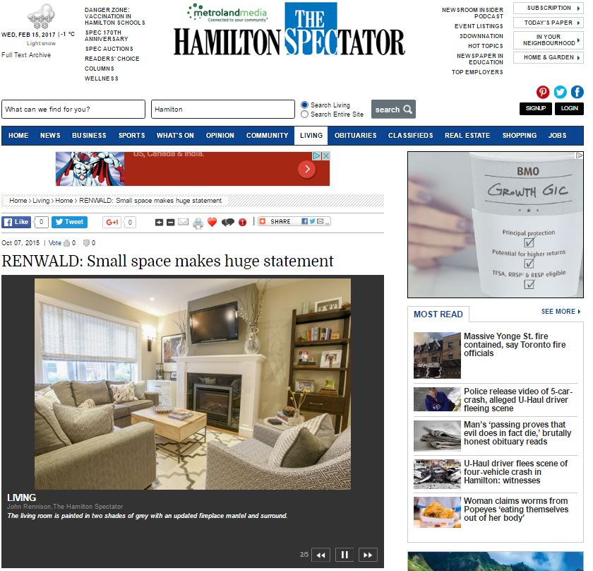 HAMILTON SPECTATOR - Small Space makes huge statement