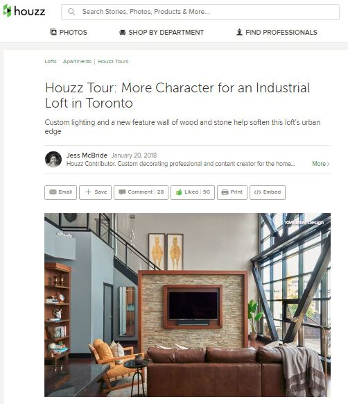 Houzz feature - toronto urban loft