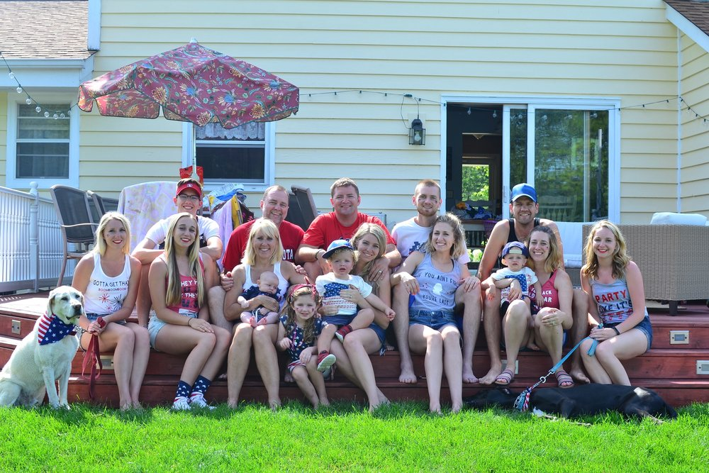 The whole gang on the 4th of July, including the pups!