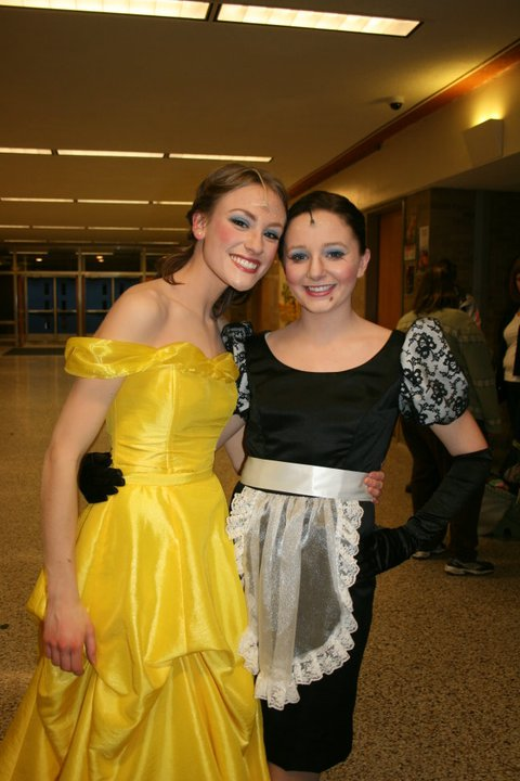 My friend Emma and I (as a brunette!) in our high school musical