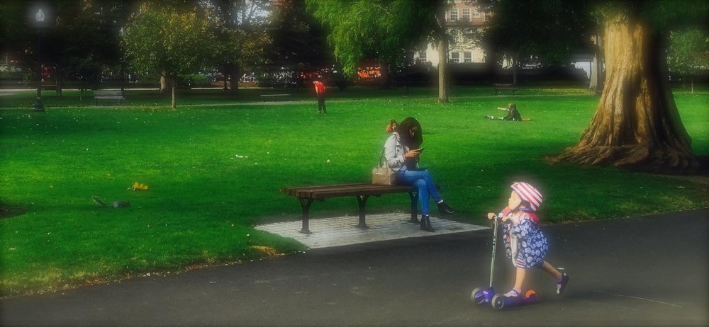 Texting and playing in Boston's Public Garden. Photo by Rick Holmes