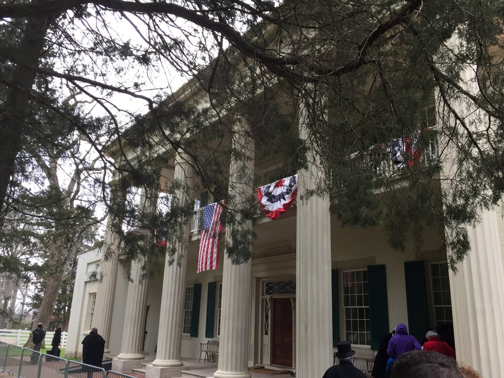 The front of the Hermitage, Andrew Jackson's plantation outside Nashville, was being prepared Wednesday for a visit from President Donald Trump.