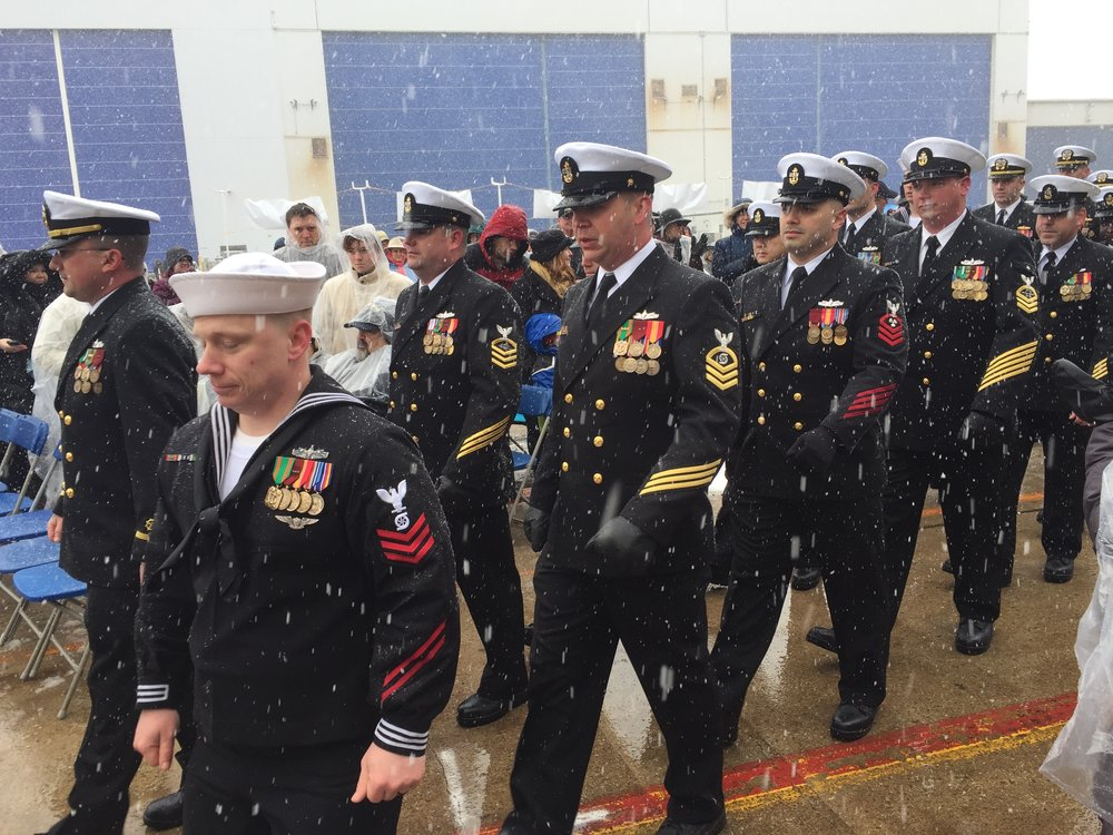 Crew members of the USS Thomas Hudner at the ship's christening ceremony. Photo by Rick Holmes