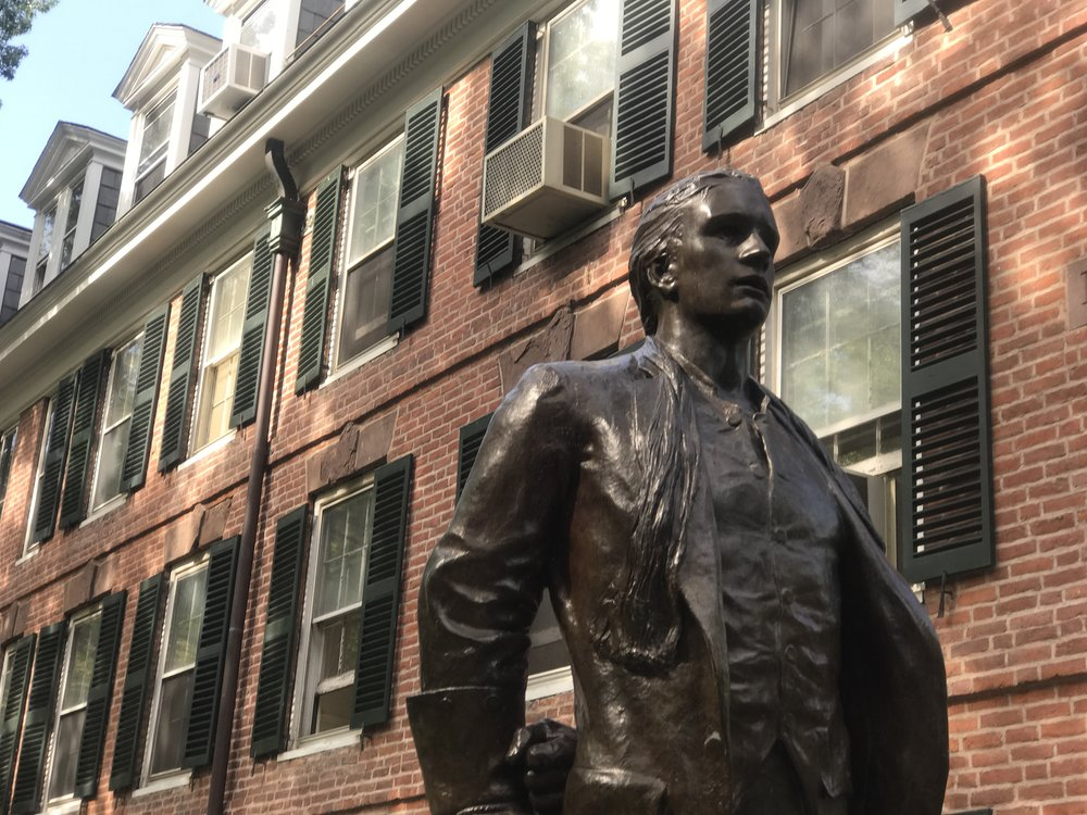 The Nathan Hale statue outside the dorm where he studied at Yale.