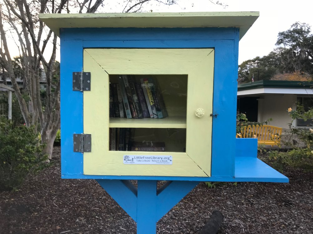 A Little Free Library box in Wilmington, NC
