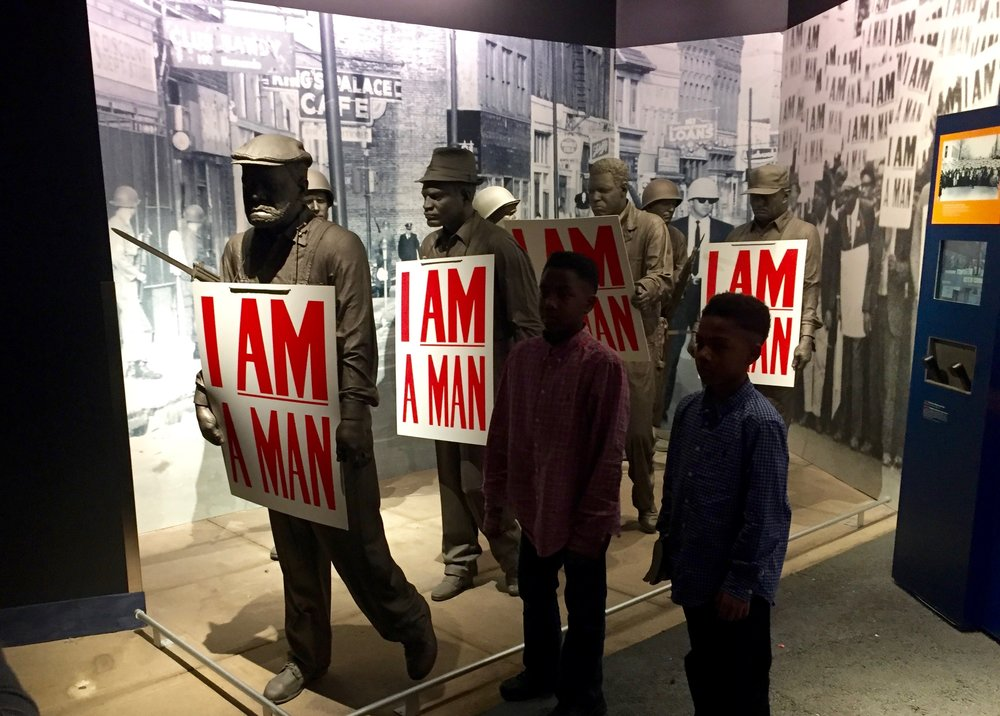Memphis, Tenn.: An exhibit on the Memphis sanitation workers strike at the National Civil Rights Museum.