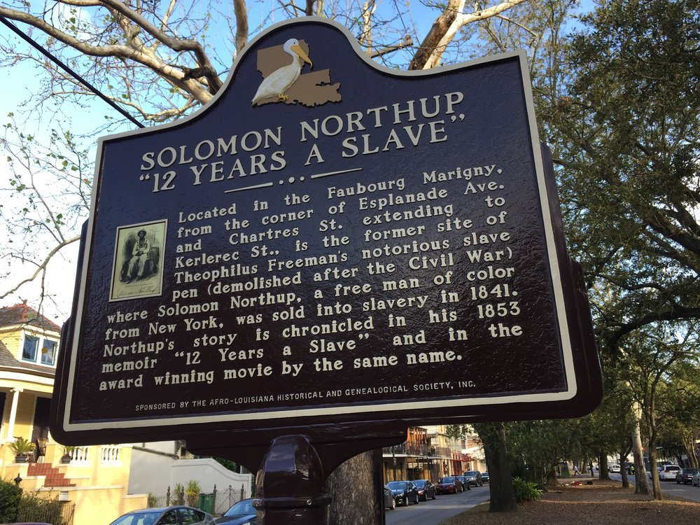 "New Orleans, La.: A historic marker notes where one of the city's notorious ""slave pens"" was located."