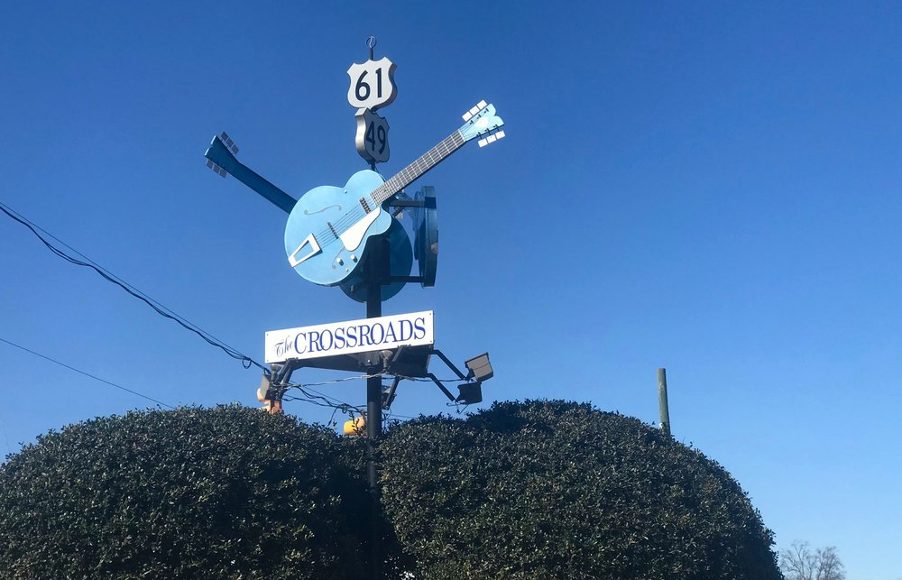 Sign in Clarksdale, Miss. celebrates the crossroads where, according to blues legend, Robert Johnson met the devil.