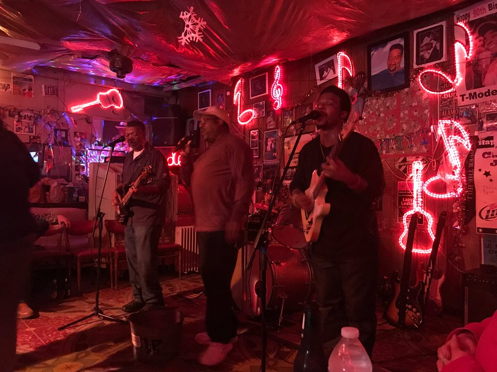 "Anthony ""Big A"" Sherrod, right, rocks the blues at Red's, an old-style juke joint in Clarksdale, Miss."