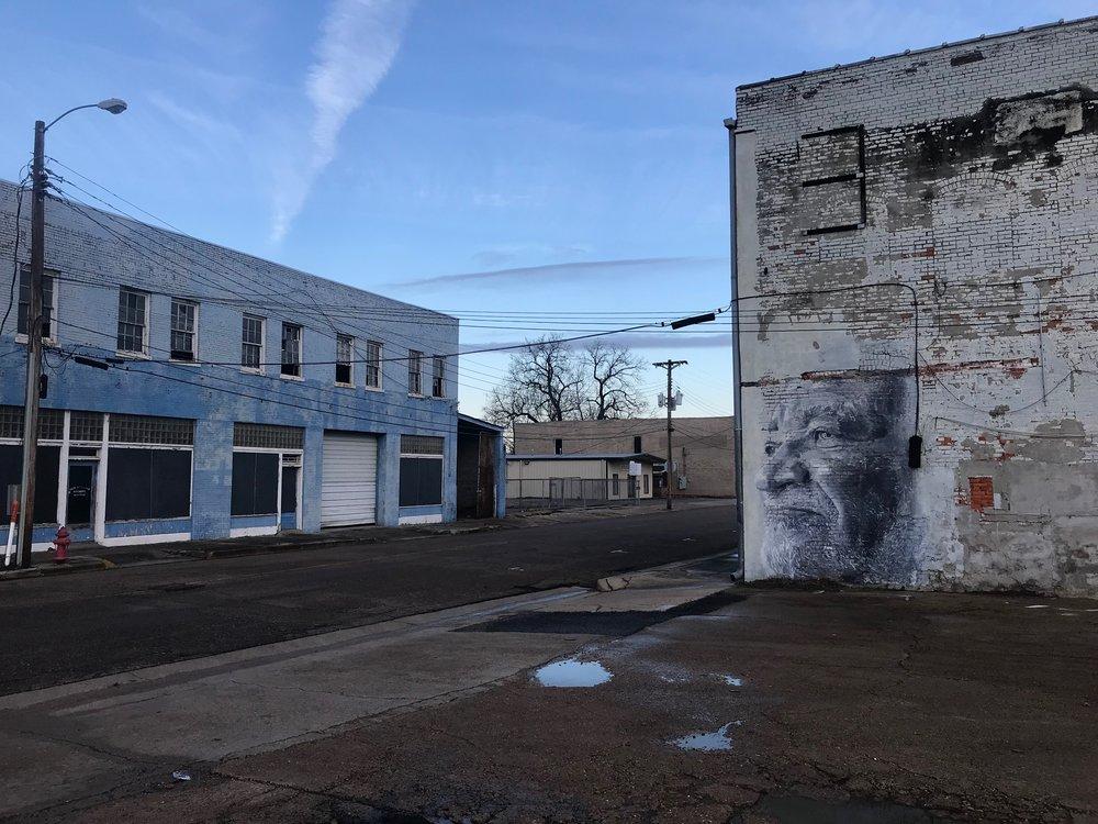 A street scene in Clarksdale, Miss.