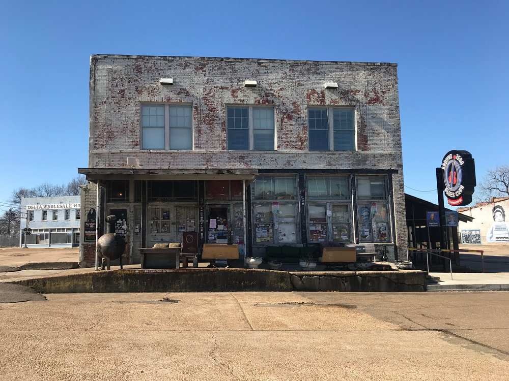 Outside Ground Zero, the blues club in opened by actor Morgan Freeman that is part of Clarksdale's renaissance.