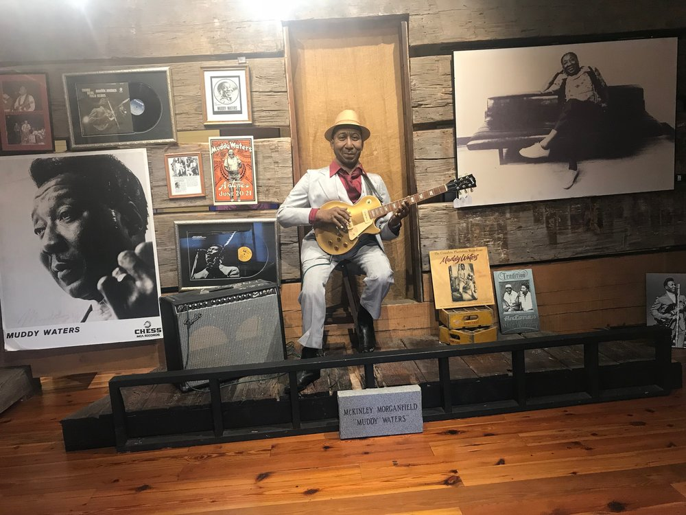 The sharecropper shack where Muddy Waters lived is on display at the Delta Blues Museum in Clarksdale.