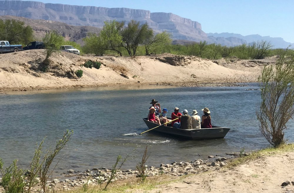 American tourists get a lift across the Rio Grande from Big Bend National Park to Boquillas del Carmen, Mexico.