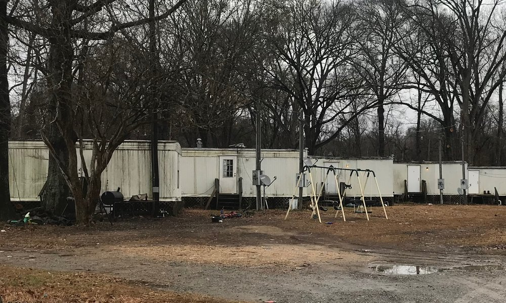 A trailer park on the outskirts of Vicksburg, Mississippi.