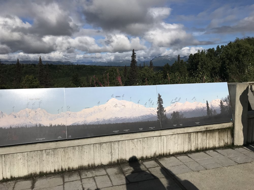 A painting at Denali State Park shows where Denali hides.