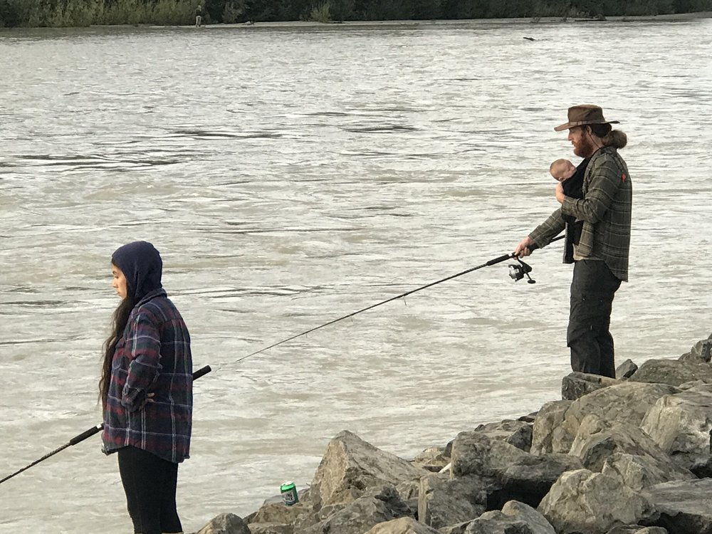 A family fishing outing on Alaska's Susitna River. This is the time of year Alaskans fill their freezers with salmon for the long winter ahead.