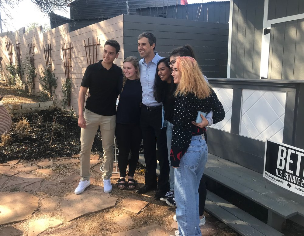 Beto O'Rourke poses with supporters in Richmond, Texas, earlier this year.