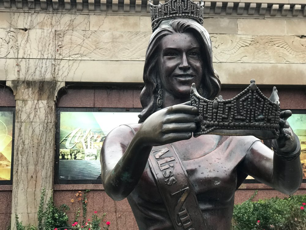 A statue of Miss America decorates the plaza in front of Boardwalk Hall. The pageant has been a marketing bonanza for Atlantic City since 1921.