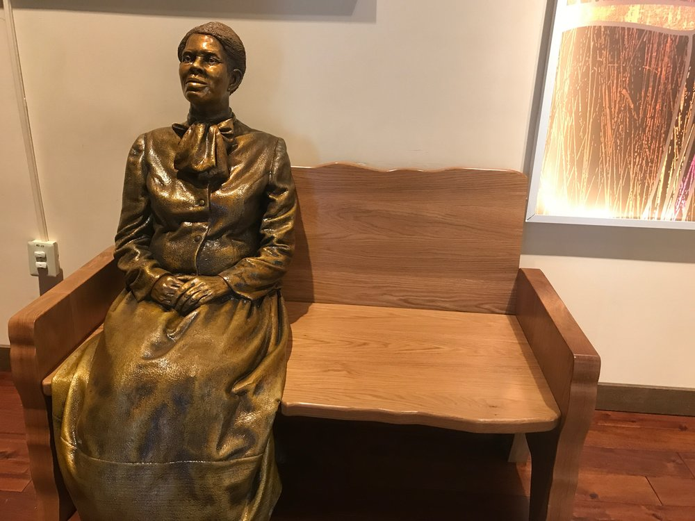 A statue of Harriet Tubman awaits company at the Harriet Tubman Underground Railroad National Historical Park in Cambridge, Md.