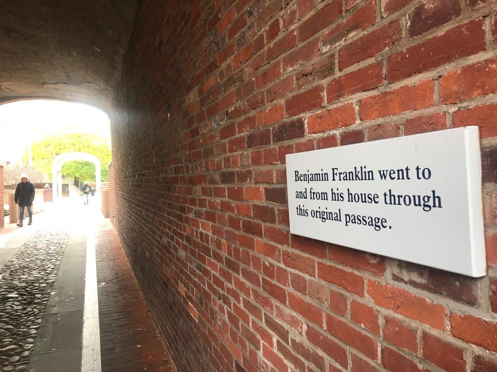 A Franklin Court passageway in Philadelphia.