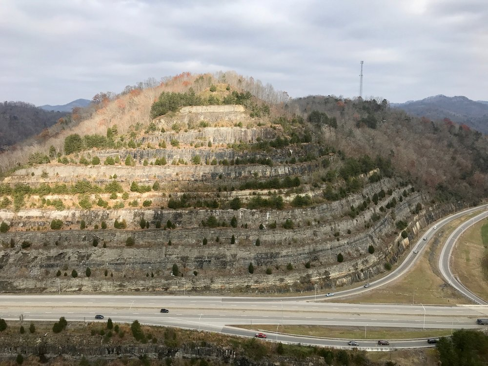 The Pikeville Cut-Through project removed a section of Peach Orchard Mountain to provide a new route for a highway, railroad and river.