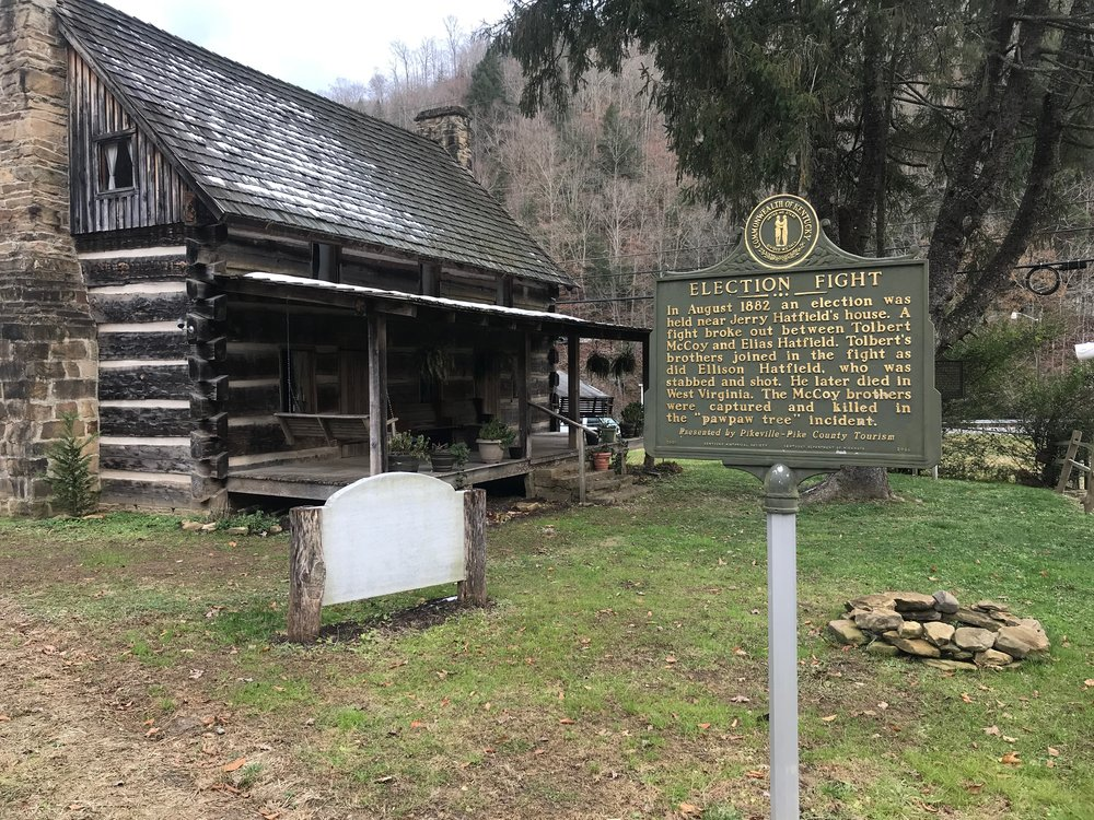 A historical plaque marks the spot of one of the fatal fights between Hatfields and McCoys.