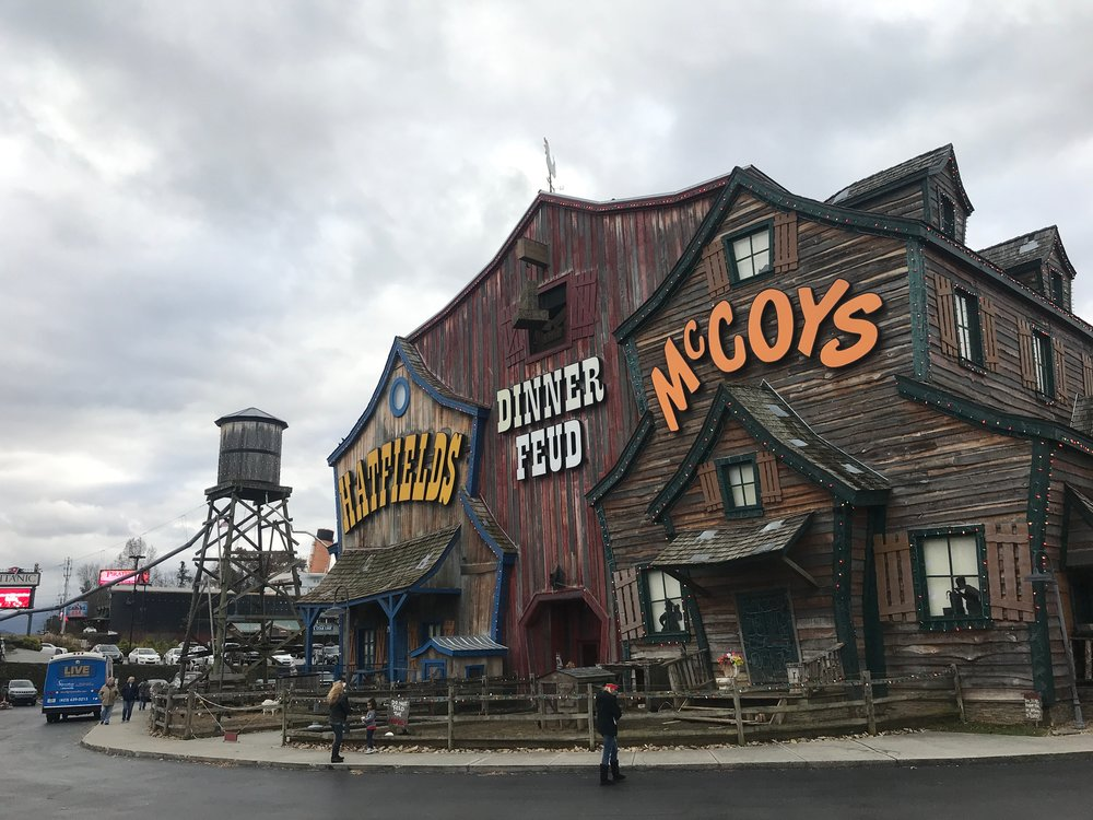 A dinner theater in Pigeon Forge, Tenn., where a family dispute that left dozens killed is portrayed as slapstick comedy.